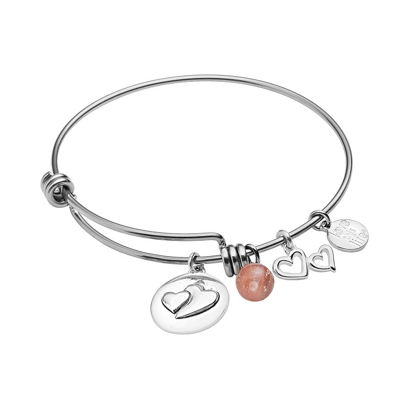 love this life Silver-Plated and Stainless Steel Cherry Quartz Bead and Heart Charm Big Sis Bangle Bracelet