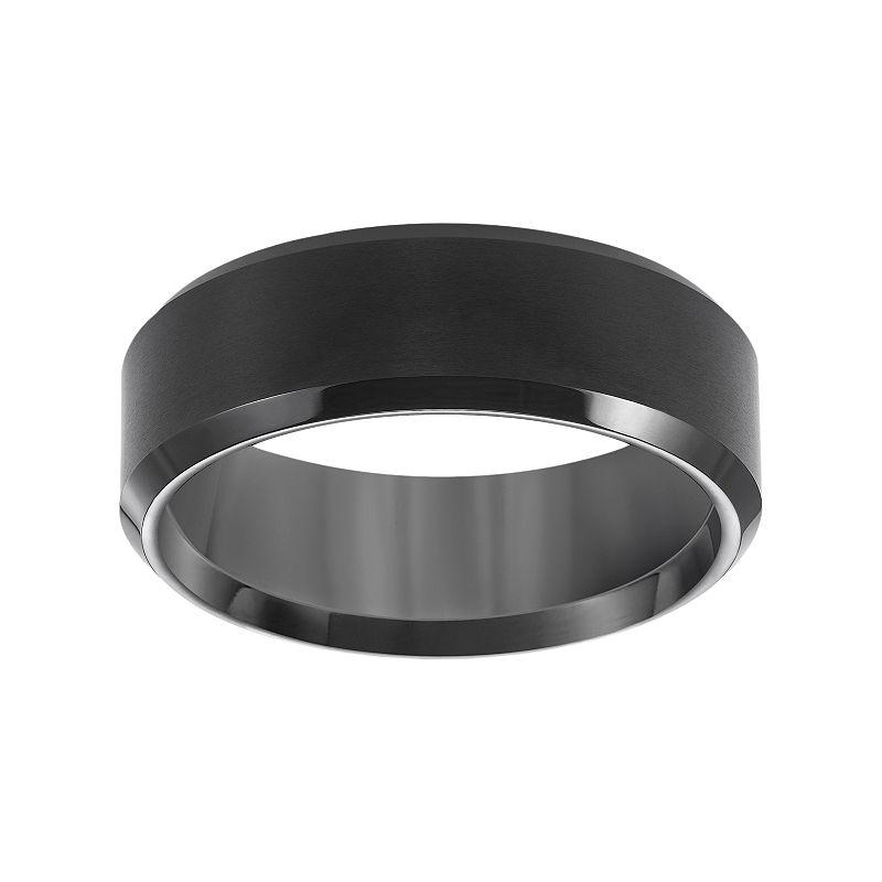 Cherish Always Black Ion-Plated Tungsten Beveled Wedding Band - Men