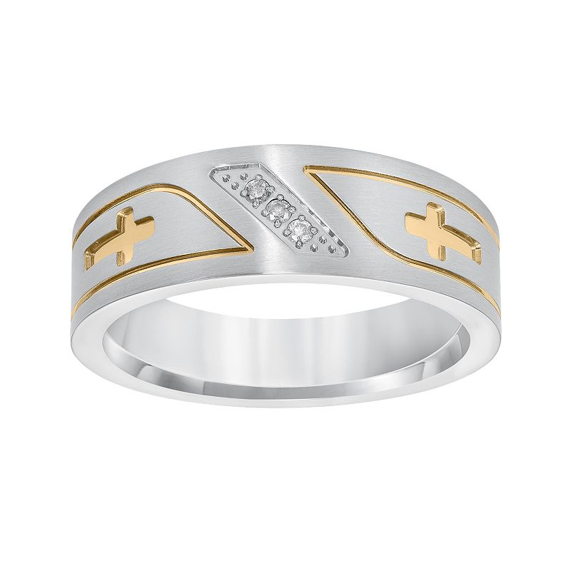 Cherish Always Yellow Ion-Plated Stainless Steel and Stainless Steel Diamond Accent Sideways Cross Band - Men