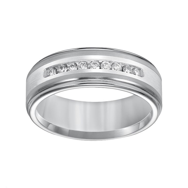 Cherish Always Tungsten and Sterling Silver 1/4-ct. T.W. Diamond Wedding Band - Men