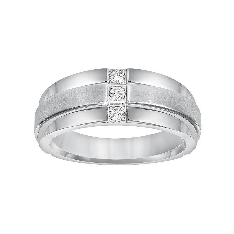 Cherish Always Stainless Steel 1/7-ct. T.W. Diamond Wedding Band - Men
