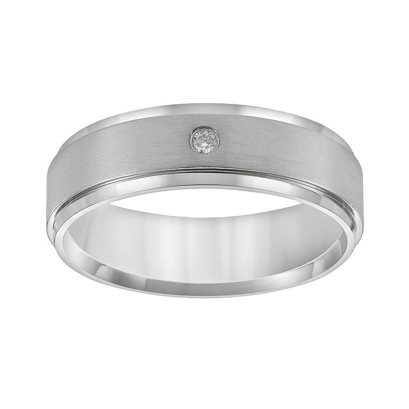 Cherish Always Titanium Diamond Accent Wedding Band