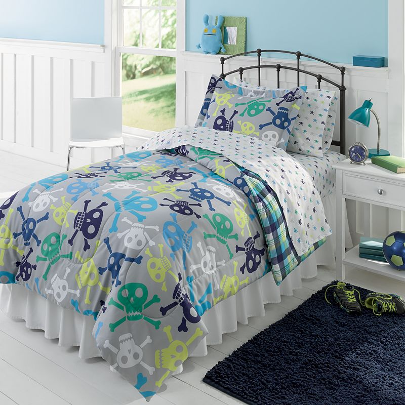 jumping beans skull and bones 5 pc bed set twin