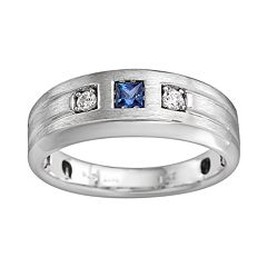 Sterling Silver Lab-Created Sapphire and Diamond Accent Ring Men by