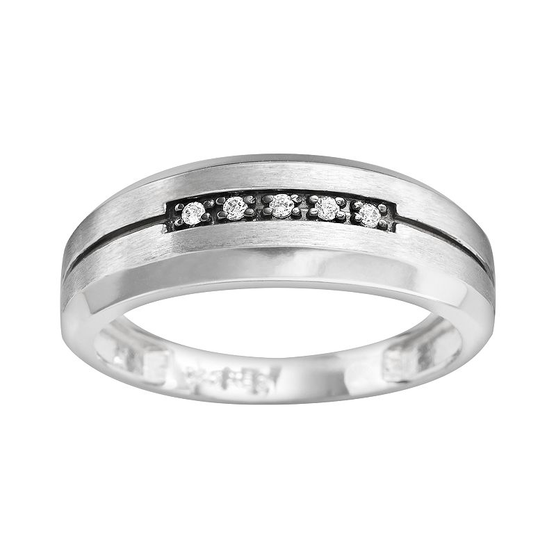 10k White Gold Diamond Accent Stripe Band - Men