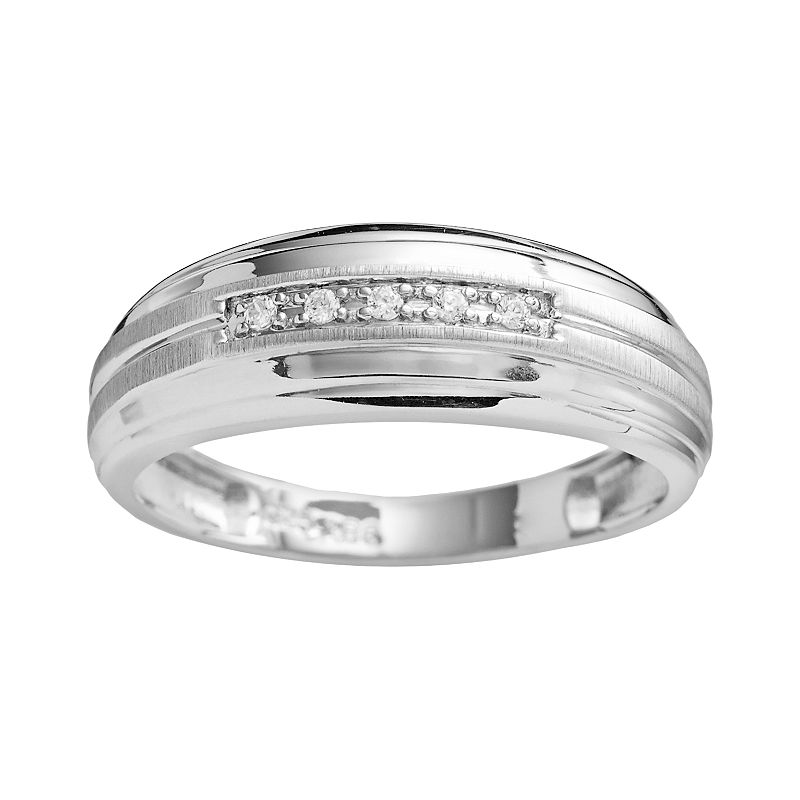 10k White Gold Diamond Accent Band - Men