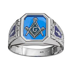 Sterling Silver Lab-Created Sapphire Masonic Ring Men by
