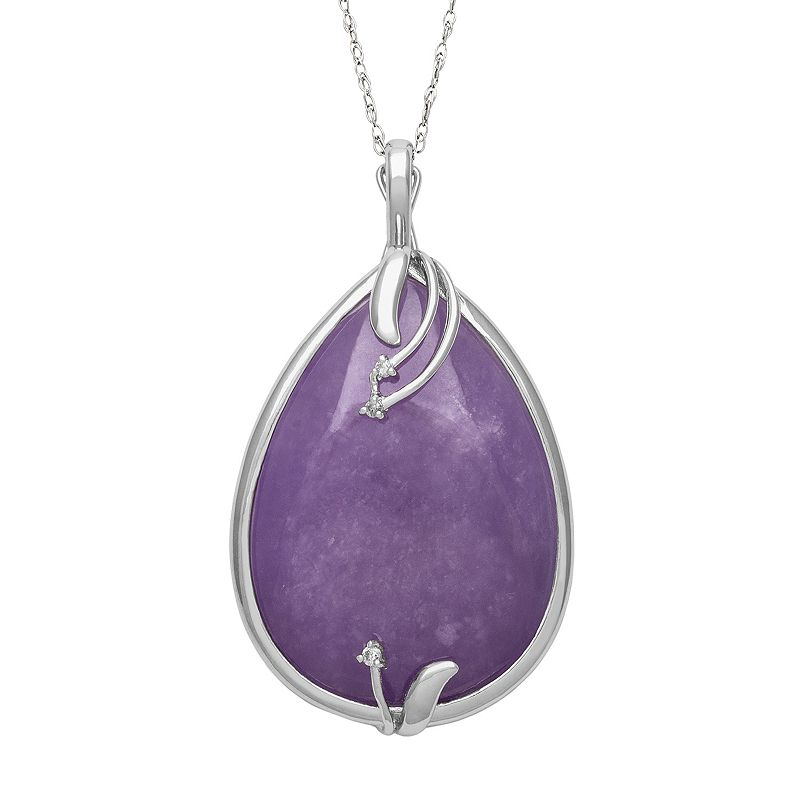Sterling Silver Jade and Certified Diamond Accent Teardrop Pendant