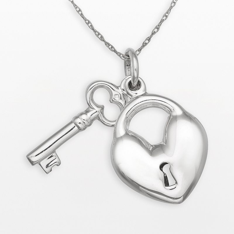 Sterling Silver Heart Lock and Key Pendant