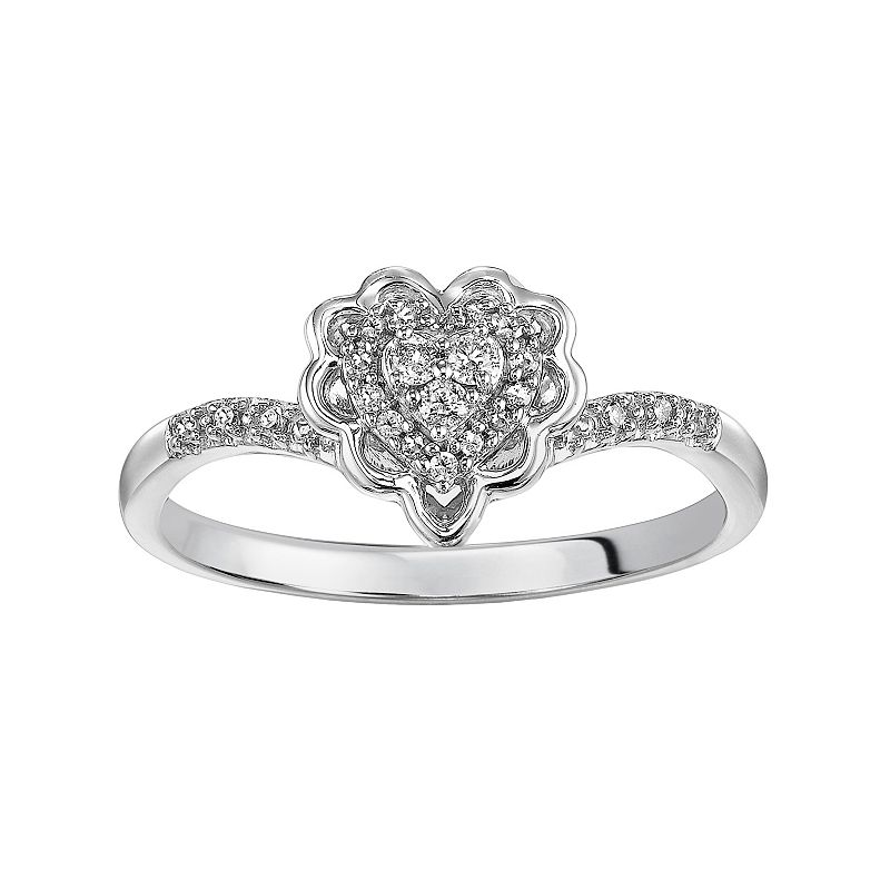Love Always Diamond Heart Halo Engagement Ring in Sterling Silver (1/8 ct. T.W.)