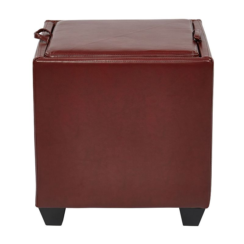 Office Star Products Eco-Leather Storage Ottoman