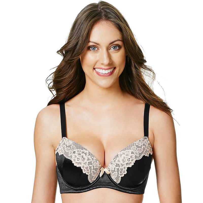 Perfects Australia Bra: Eliza Curve It Up Satin Lace Balconette T-Shirt Bra 14UBR97 - Women's