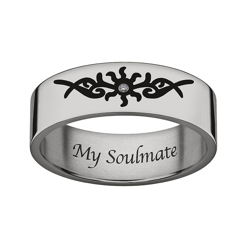 Sweet Sentiments Titanium Diamond Accent Band - Men