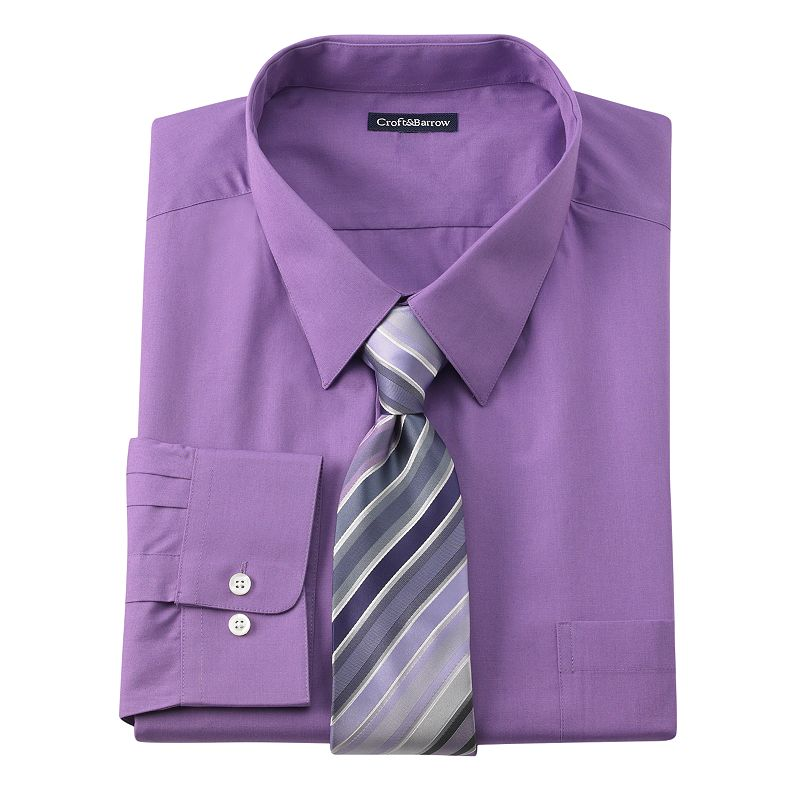 Big tall croft barrow classic fit point collar dress for Dress shirts for big and tall