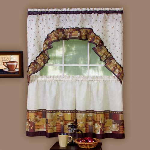 Coffee 3 pc Swag Tier Kitchen Curtain Set
