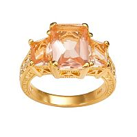 Sophie Miller 14k Gold Over Silver Simulated Morganite & Cubic Zirconia Ring