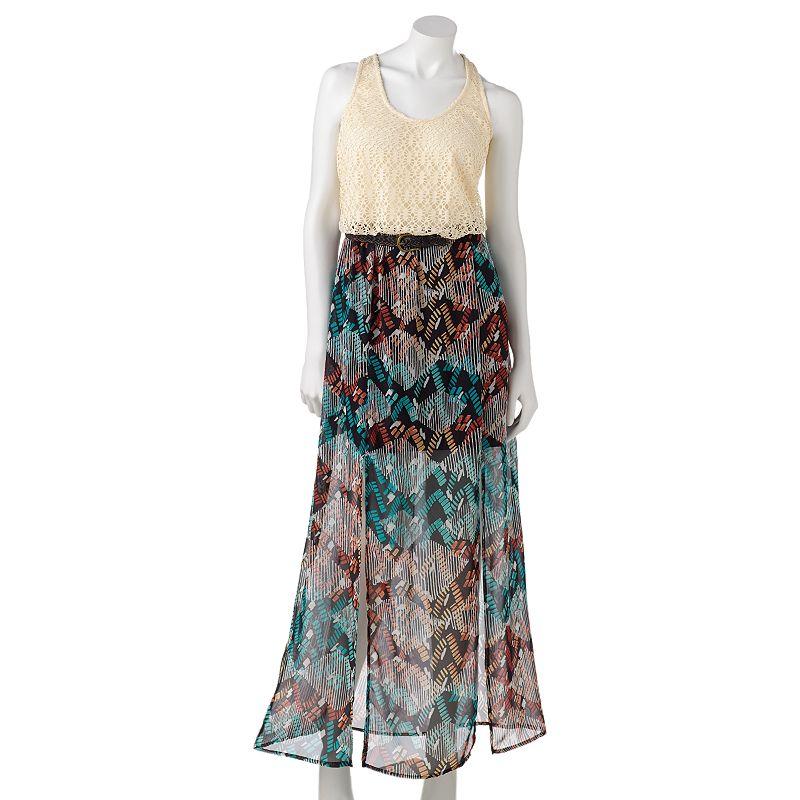 Juniors' City Triangles Crochet Double Slit Maxi Dress