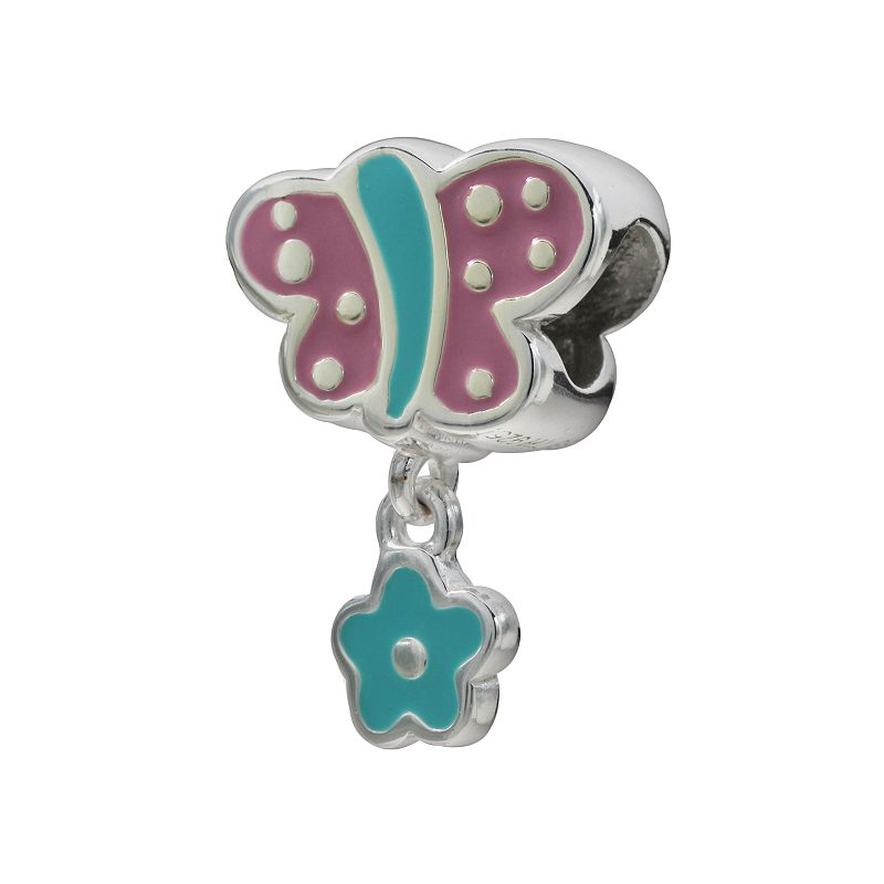 Individuality Beads Sterling Silver Butterfly and Flower Charm