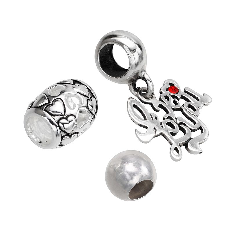 Individuality Beads Sterling Silver Heart and Spacer Bead and Crystal I Love You Charm Set