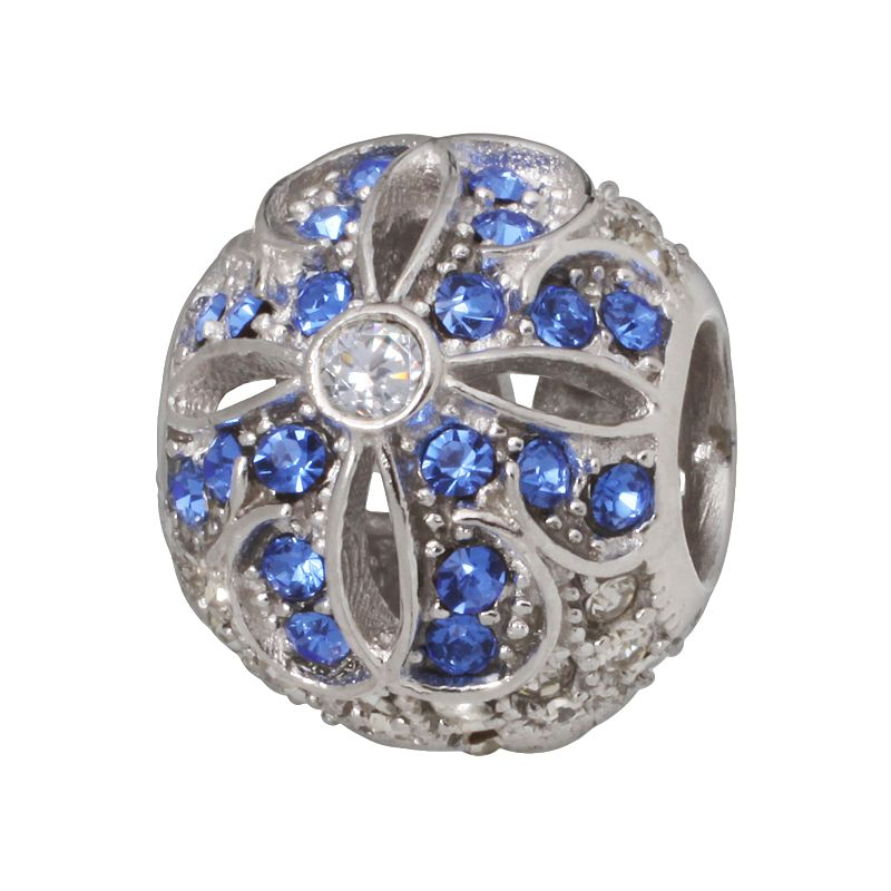 Individuality Beads Sterling Silver Crystal and Cubic Zirconia Flower Bead