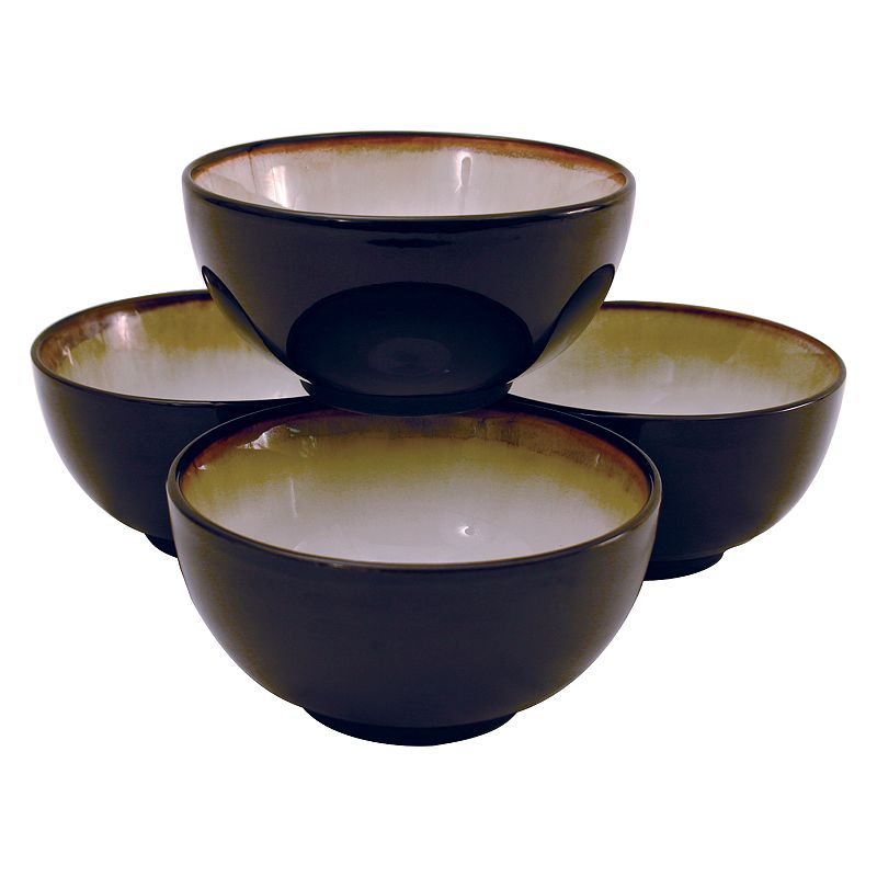 Sango Set of 4 Nova Black Ice Cream/Cereal Bowls