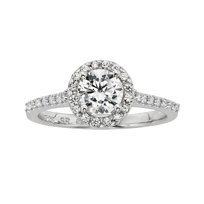 Diamonore Simulated Diamond Halo Engagement Ring in Sterling Silver (1-ct. T.W.)