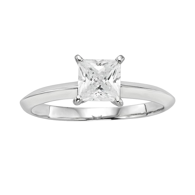 Diamonore Princess-Cut Simulated Diamond Solitaire Engagement Ring in Sterling Silver (1 ct. T.W.)