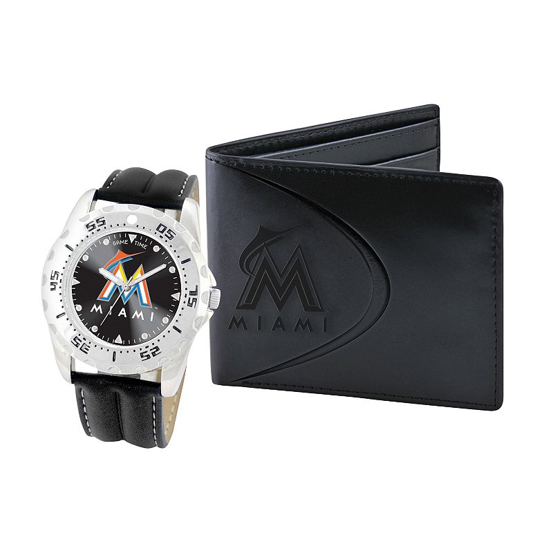 Miami Marlins Watch and Bifold Wallet Gift Set