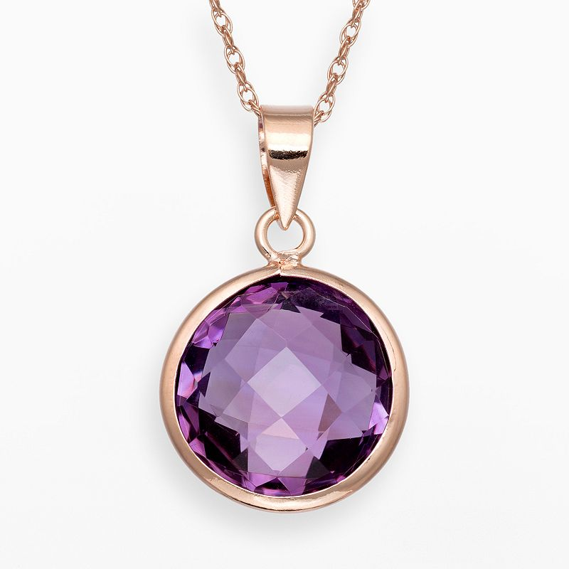 14k Rose Gold Over Silver Amethyst Solitaire Pendant