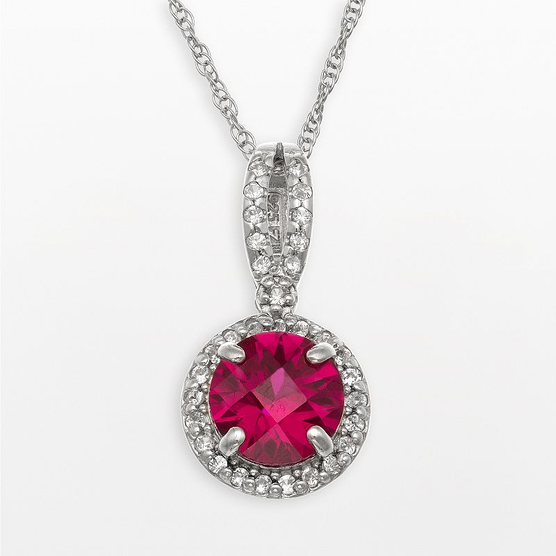 Sterling Silver Lab-Created Ruby and Lab-Created White Sapphire Halo Pendant