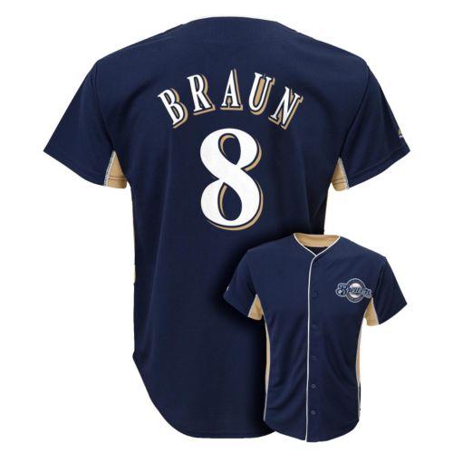 Boys 8-20 Majestic Milwaukee Brewers Ryan Braun Team Leader MLB Jersey