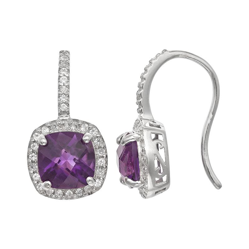 Sterling Silver Amethyst and Lab-Created White Sapphire Halo Drop Earrings