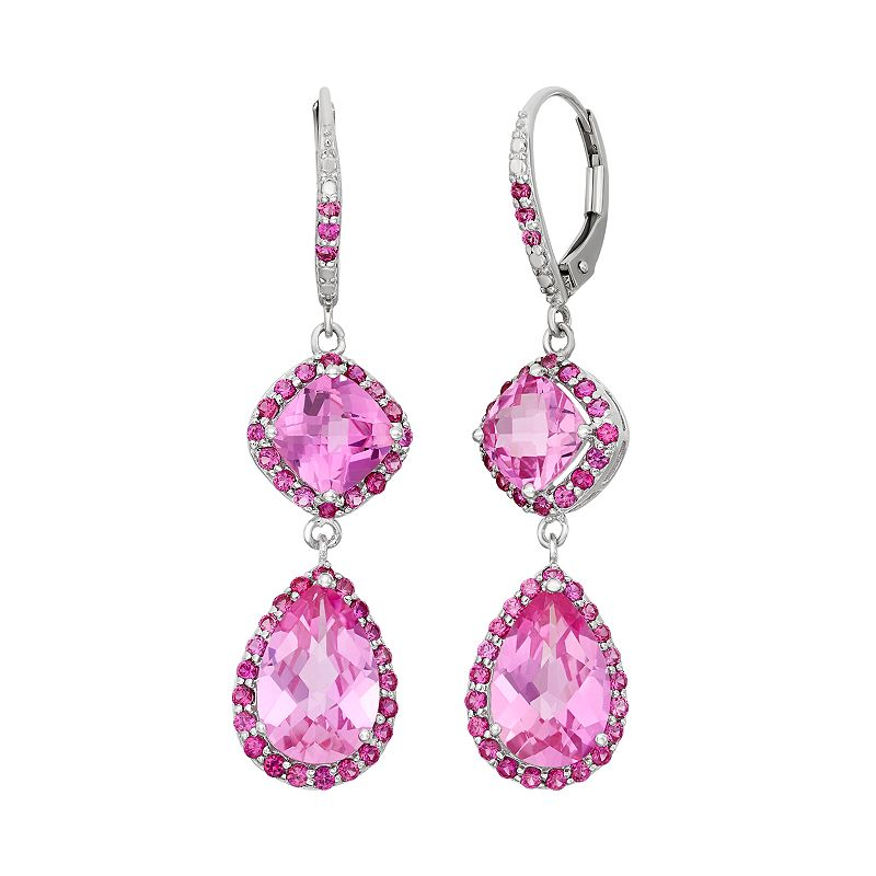 Lab-Created Pink Sapphire and Lab-Created Ruby Sterling Silver Linear Drop Earrings