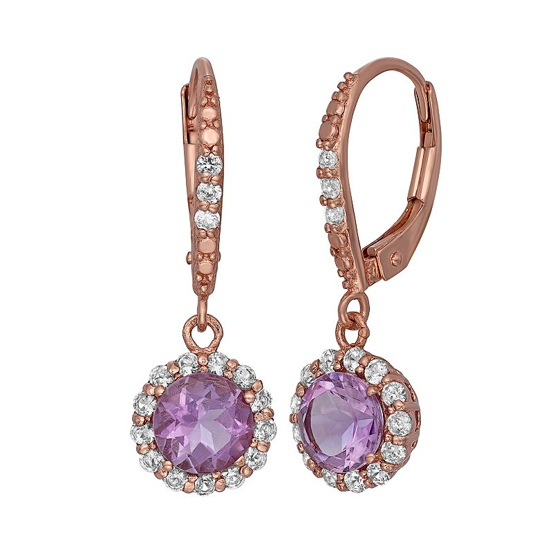 Amethyst and Lab-Created White Sapphire 14k Rose Gold Over Silver Halo Drop Earrings