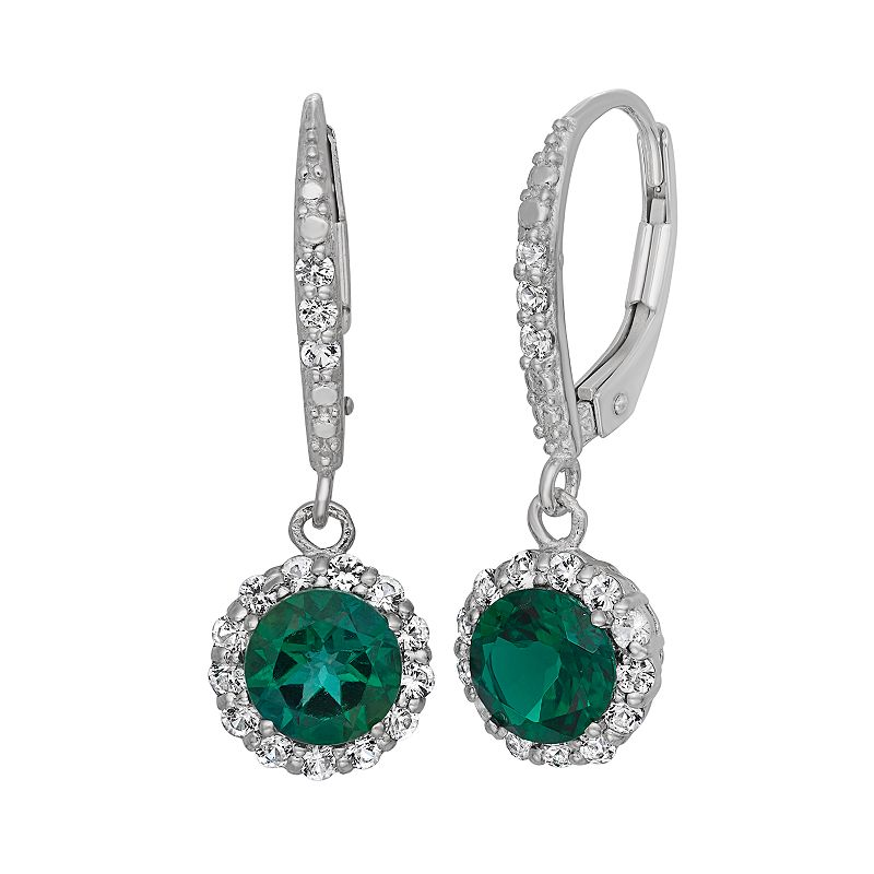 Lab-Created Emerald and Lab-Created White Sapphire Sterling Silver Halo Drop Earrings