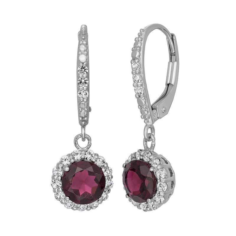 Garnet and Lab-Created White Sapphire Sterling Silver Halo Drop Earrings