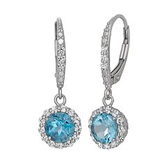 Swiss Blue Topaz & Lab-Created White Sapphire Sterling Silver Halo Drop Earrings