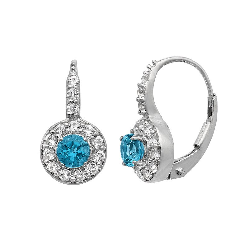London Blue Topaz and Lab-Created White Sapphire Sterling Silver Halo Drop Earrings