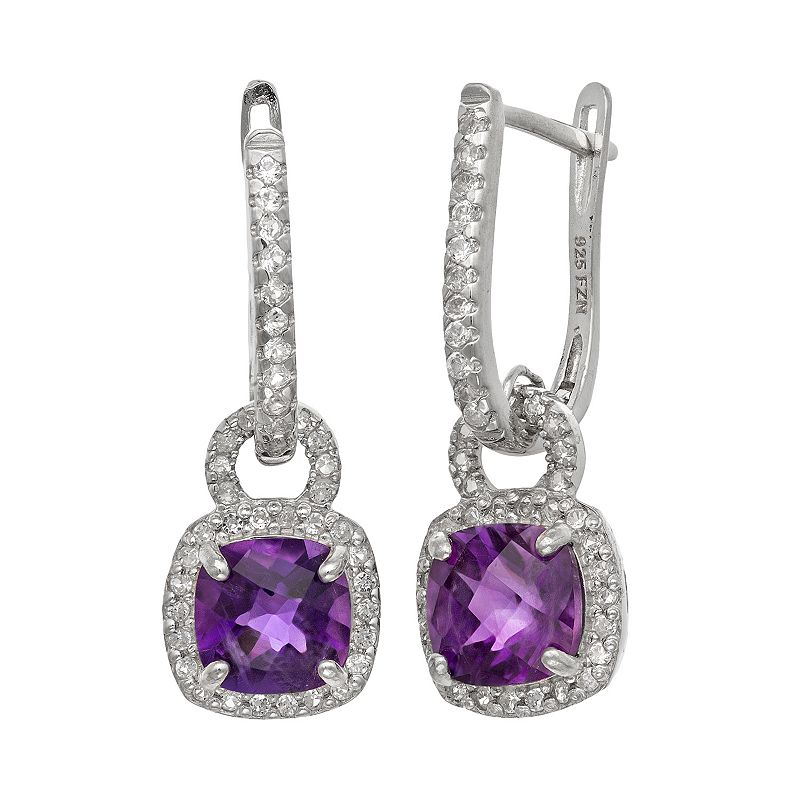 Sterling Silver Amethyst and Lab-Created White Sapphire Square Halo Drop Earrings