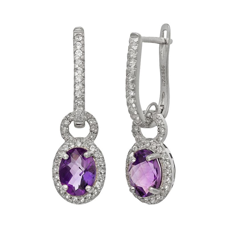 Sterling Silver Amethyst and Lab-Created White Sapphire Oval Halo Drop Earrings