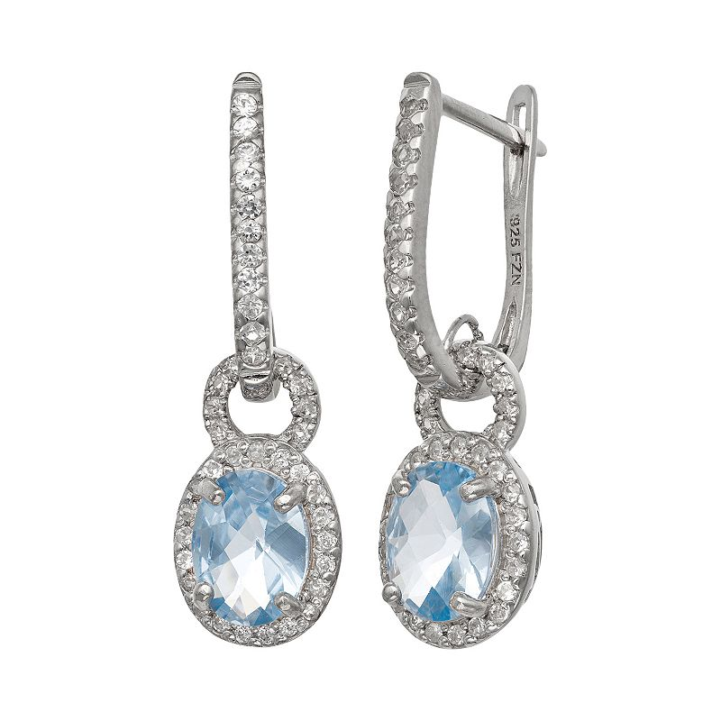 Sterling Silver Lab-Created Aquamarine and Lab-Created White Sapphire Oval Halo Drop Earrings