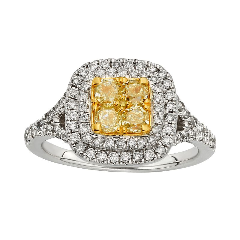 Yellow and White Diamond Halo Engagement Ring in 14k Gold Two Tone (1 1/3 ct. T.W.)