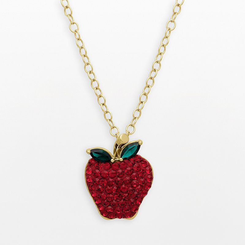 Artistique 18k Gold Over Silver Crystal Apple Pendant - Made with Swarovski Crystals
