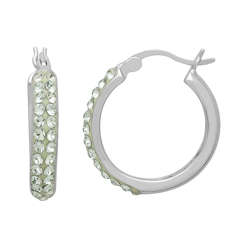 Artistique Sterling Silver Crystal Hoop Earrings - Made with Swarovski Crystals