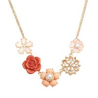 LC Lauren Conrad Gold Tone Simulated Crystal & Simulated Pearl Flower Necklace