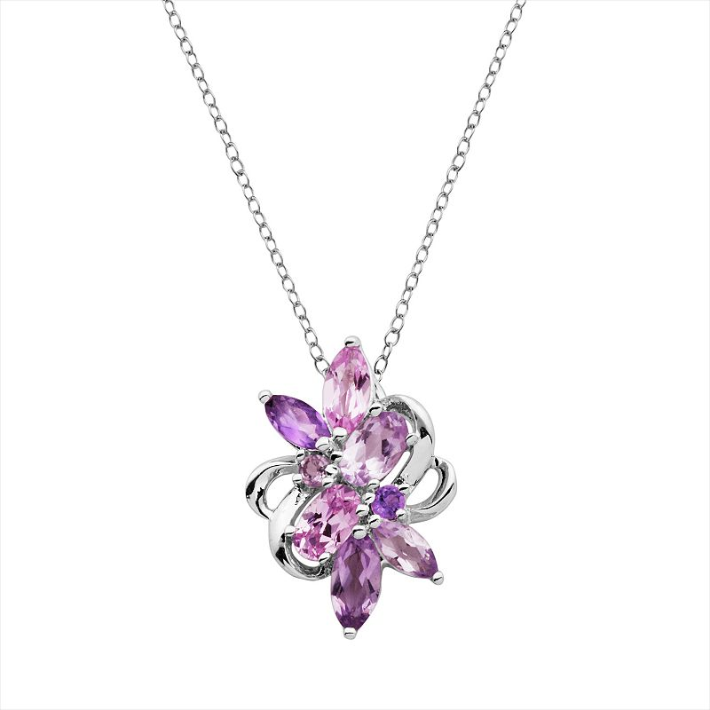 Sterling Silver Amethyst and Lab-Created Pink Sapphire Cluster Pendant