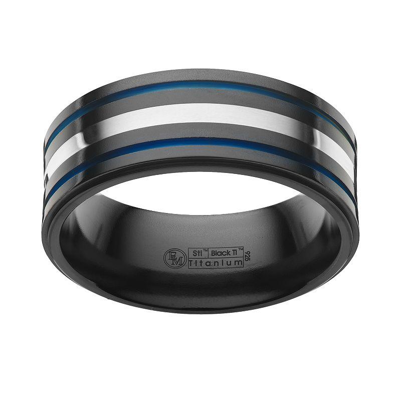 STI by Spectore Sterling Silver and Black Titanium Stripe Band - Men