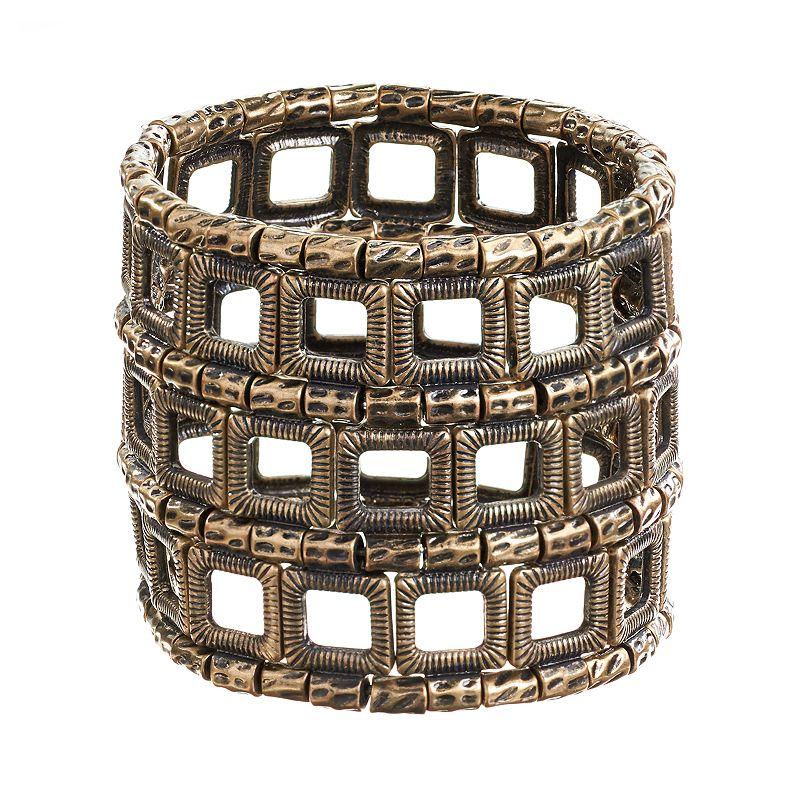 GS by gemma simone Gold Tone Textured Beads Stretch Bracelet