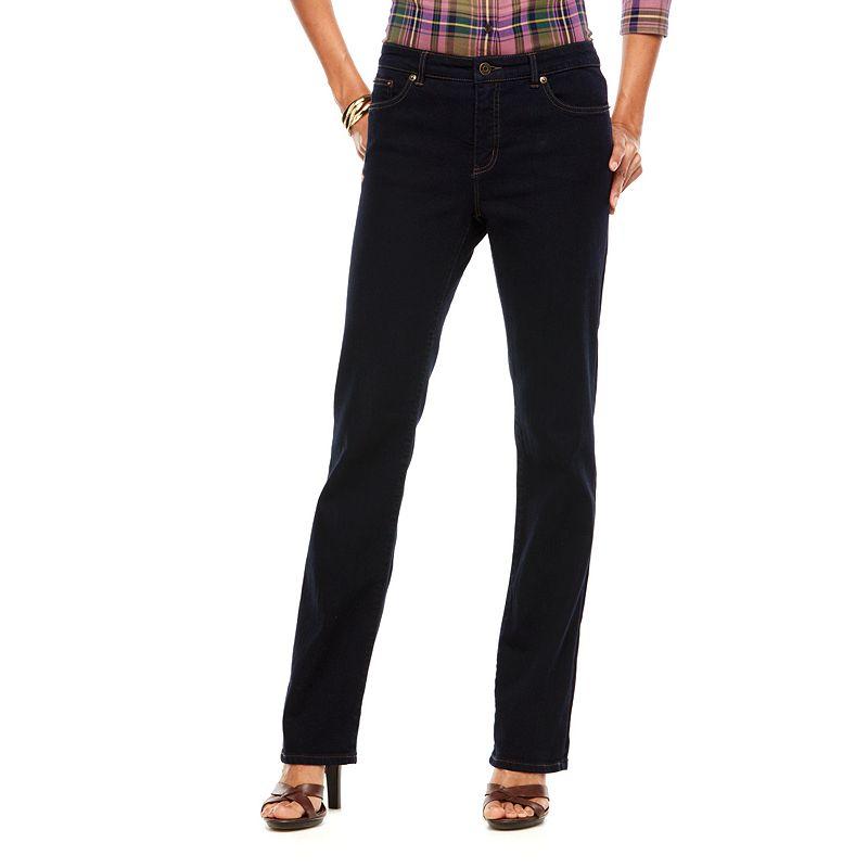 Chaps Curvy Straight-Leg Jeans - Women's, Size: 2, Blue