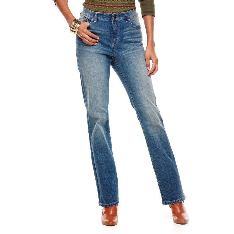 Chaps Curvy Straight-Leg Jeans - Women's, Size: 4 SHORT, Blue
